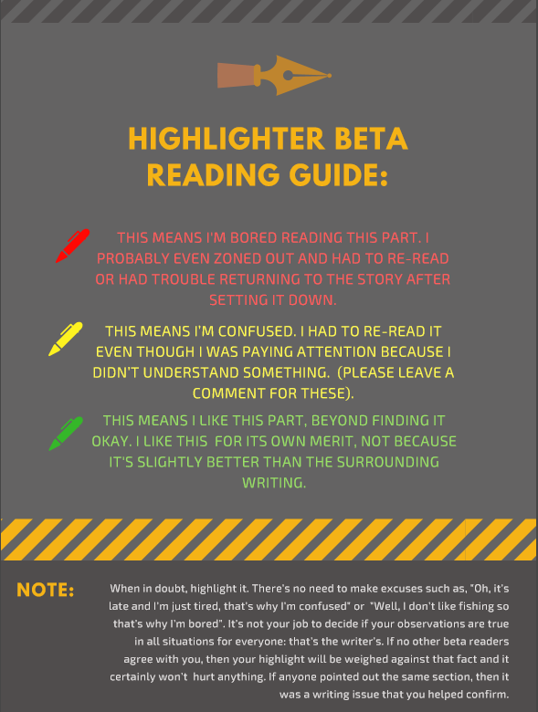 Highlighter system for beta readers, novels